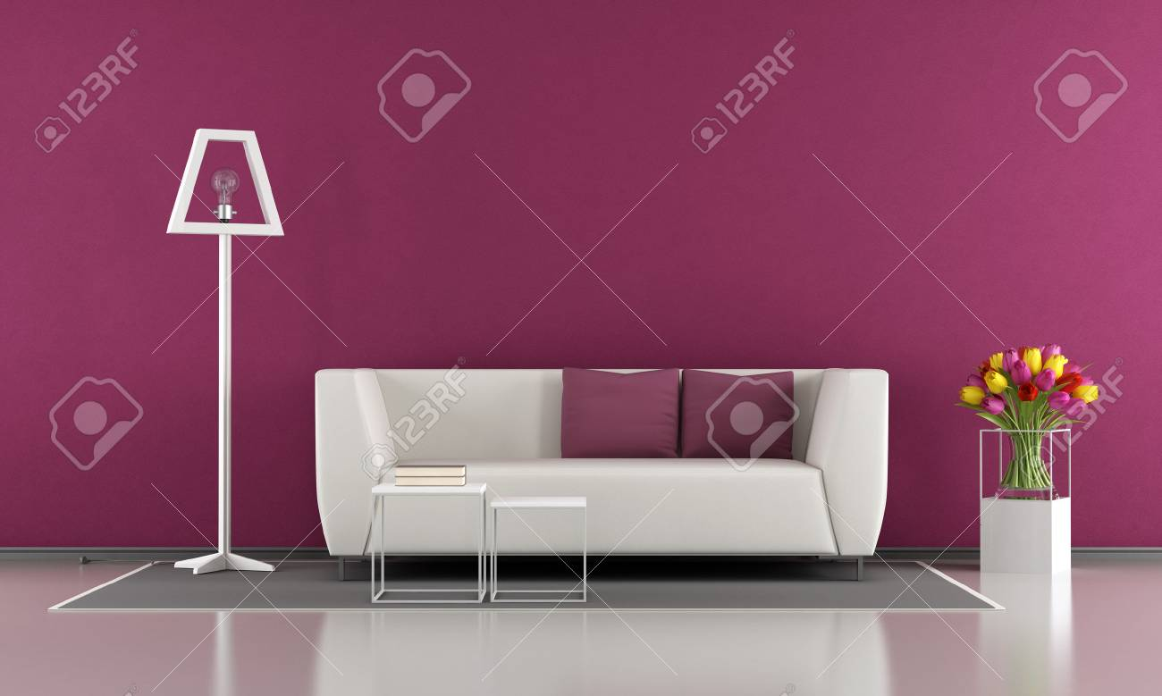 Modern Purple Living Room With White Sofa Lamp And Flowers 3d