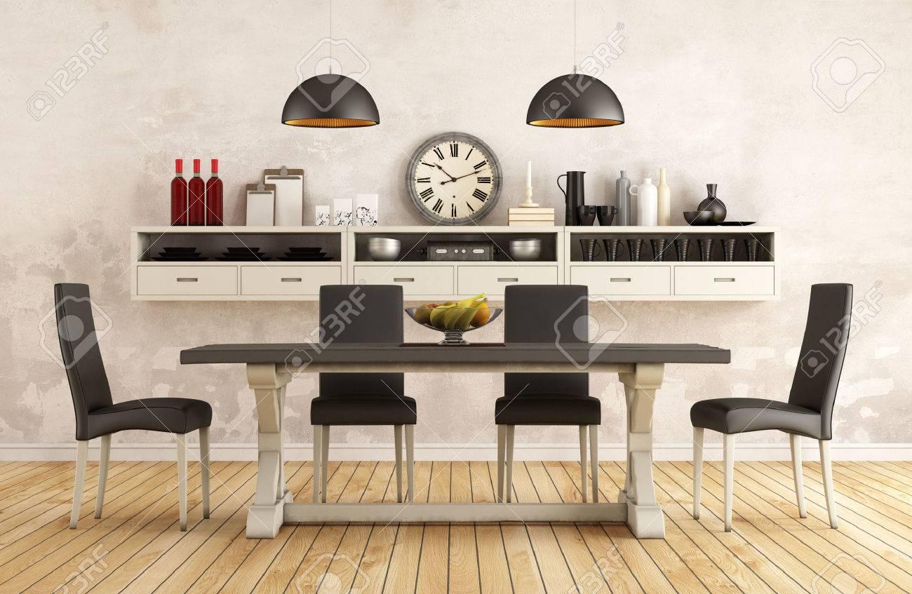 Immagini Stock - In Bianco E Nero Retrò Sala Da Pranzo Con Tavolo E ...
