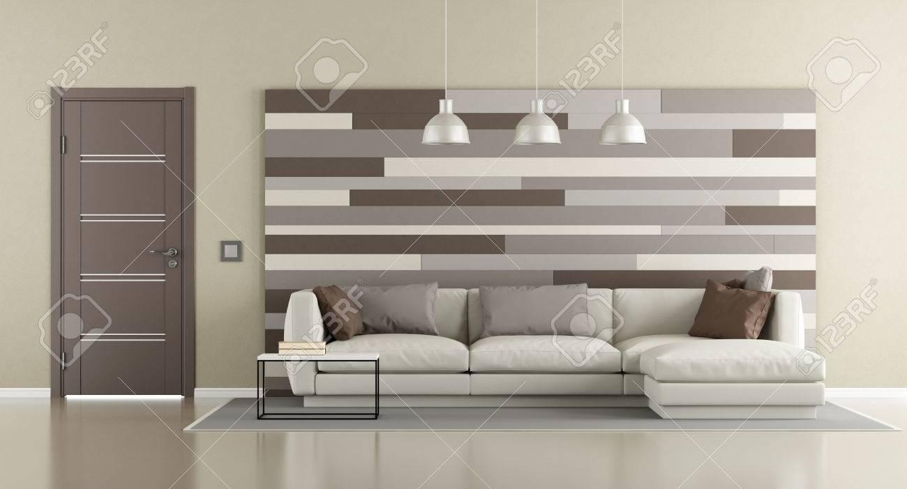 Banque Du0027images   Salon Moderne Marron Et Beige Avec Canapé, Porte Fermée  Et Panneau Décoratif Sur Le Mur   Rendu 3d