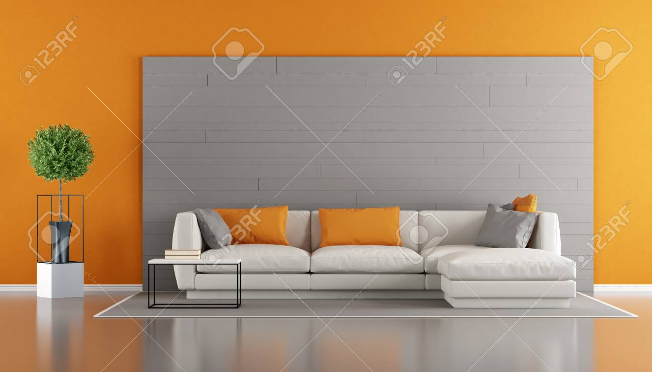 Gray and orange modern living room with sofa and gray decorative..