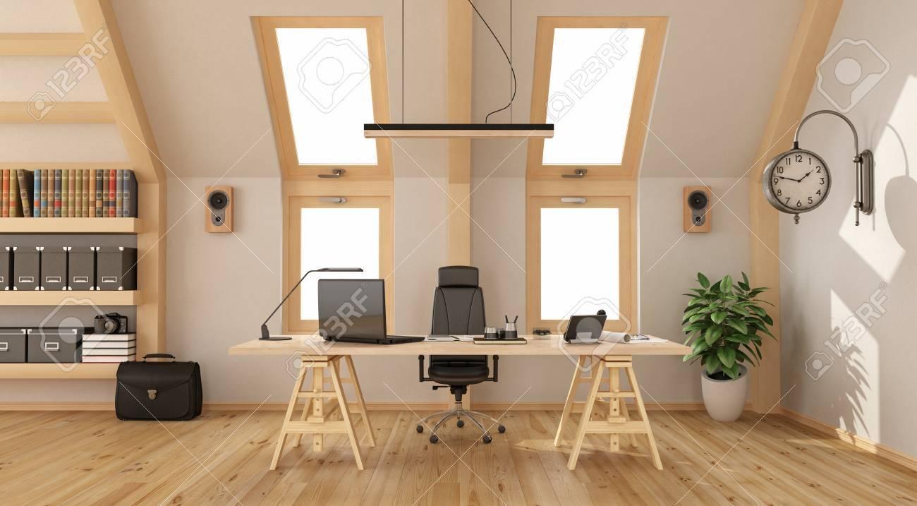 Bureau moderne dans le grenier avec bureau en bois bibliothèque et