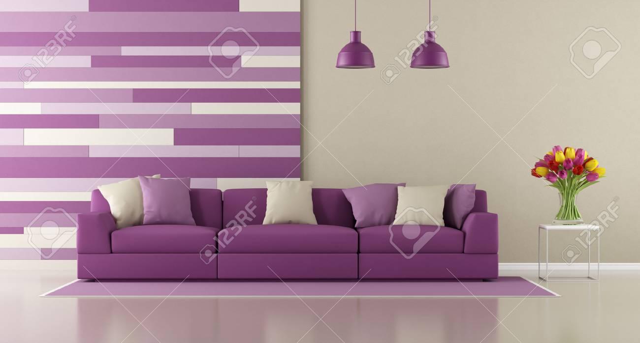 Salon Violet Contemporain Avec Canape Et Panneau Decoratif Sur Mur Rendu 3d
