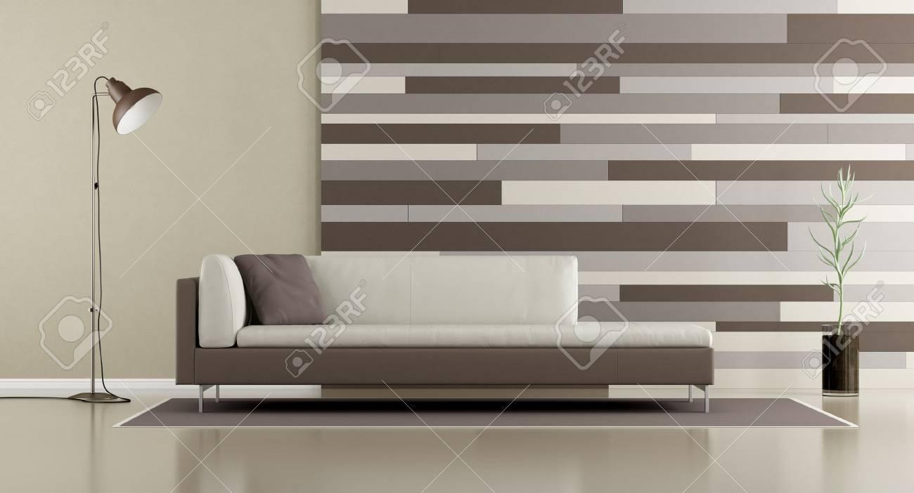 Zeitgenössisches Wohnzimmer Mit Sofa, Lampe Und Dekorativer Platte ...