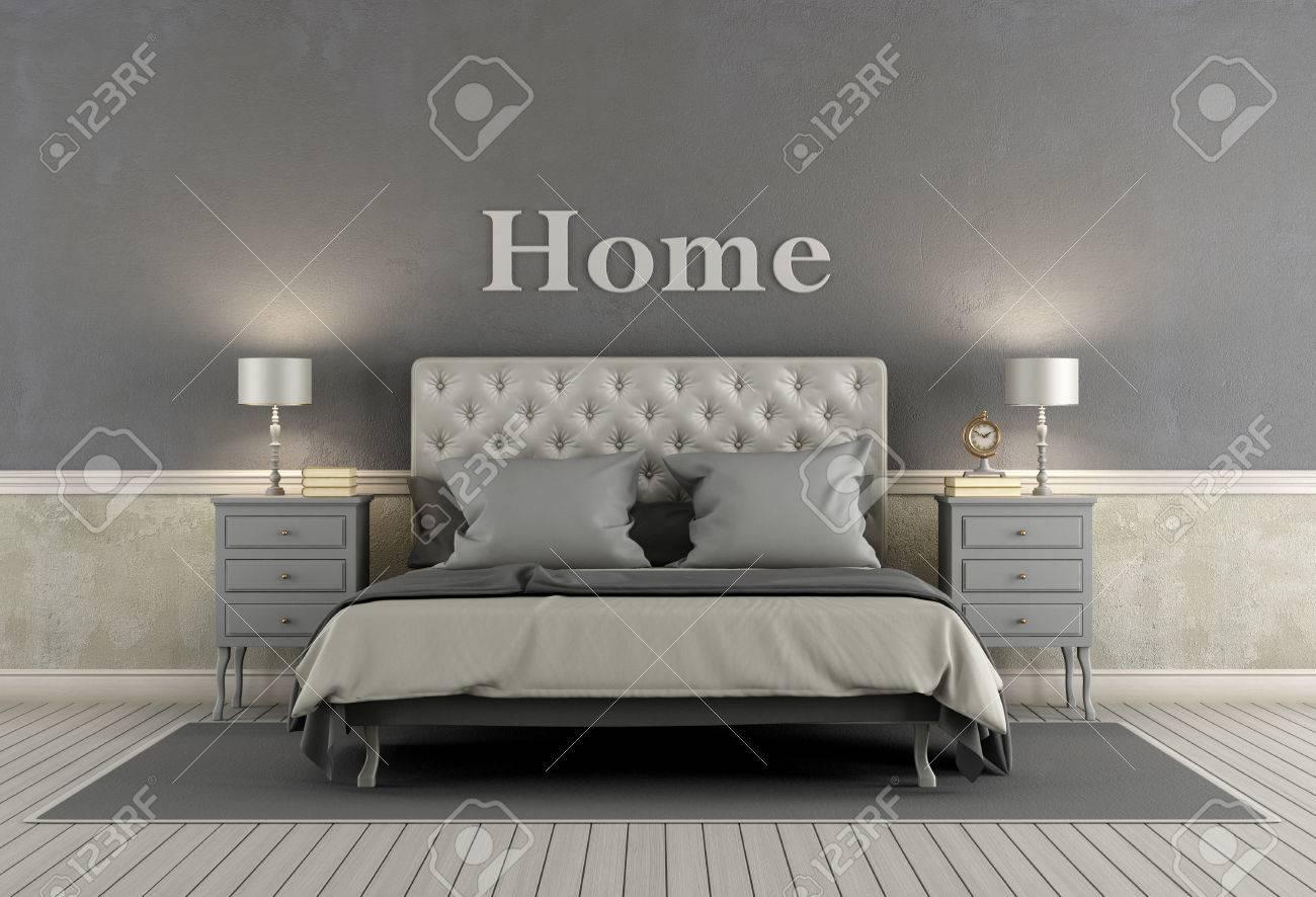 master camera da letto in stile classico con letto matrimoniale ... - Pareti Grigie Camera Da Letto