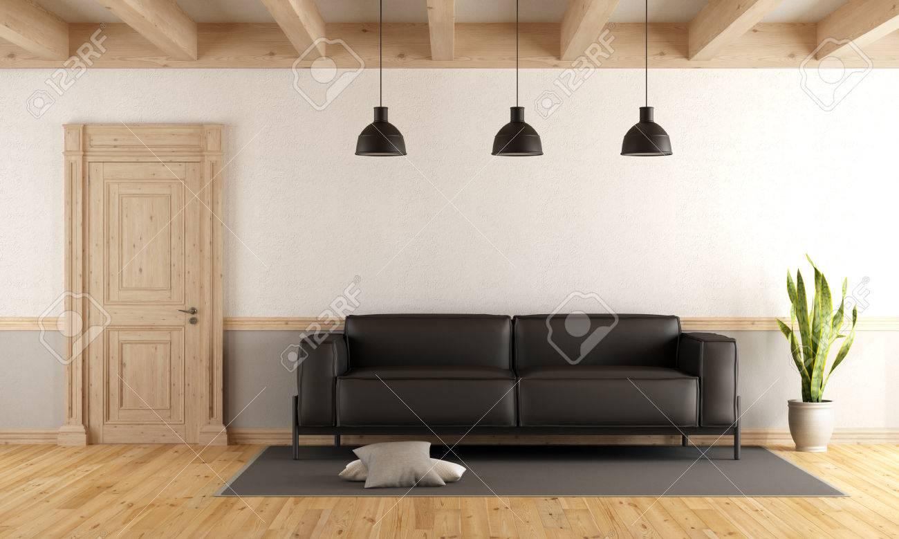 Salon avec porte fermée en bois, canapé en cuir noir, parquet et rayons de  soleil - rendu 3D