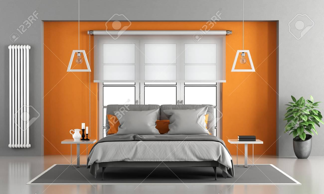 Chambre de maître gris et orange avec fenêtre sur fond - rendu 3d