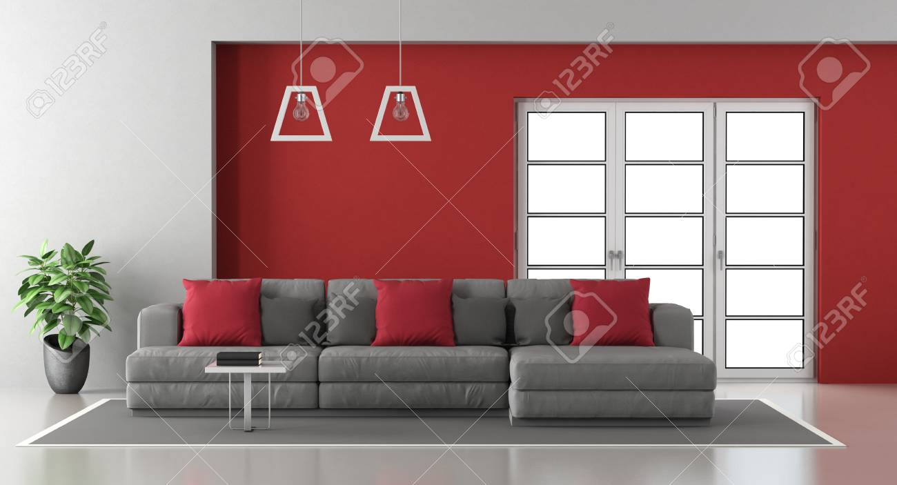 Red And Gray Modern Living Room With Modern Sofa And Window On ...