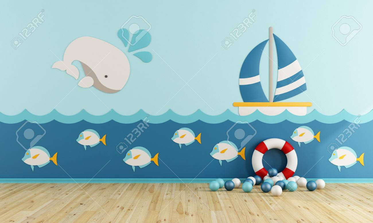 Playroom in marine style without furniture - 3d rendering - 66105141