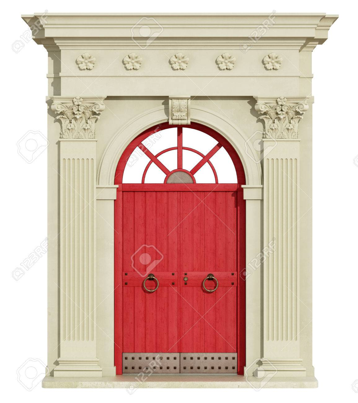 Classic Arch With Corinthian Column And Red Front Door 3d
