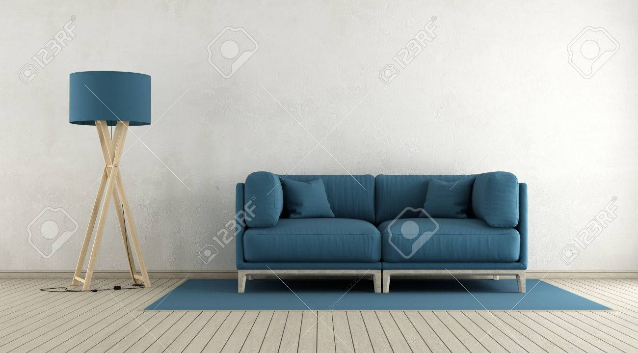 blue couches living rooms minimalist. Minimalist Living Room With Blue Sofa And Floor Lamp - 3d Rendering Stock Photo 67234448 Couches Rooms