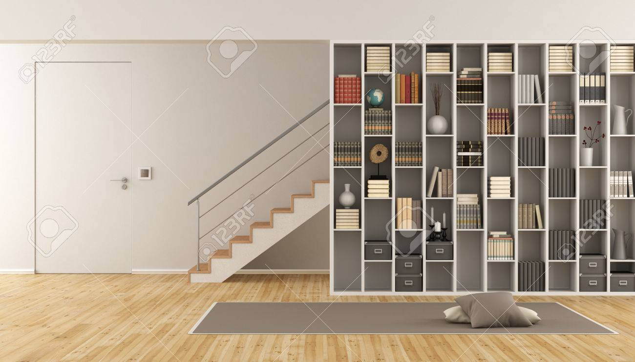 Modern Living room with bookcase ,staircase and closed door - 3d rendering - 67189406