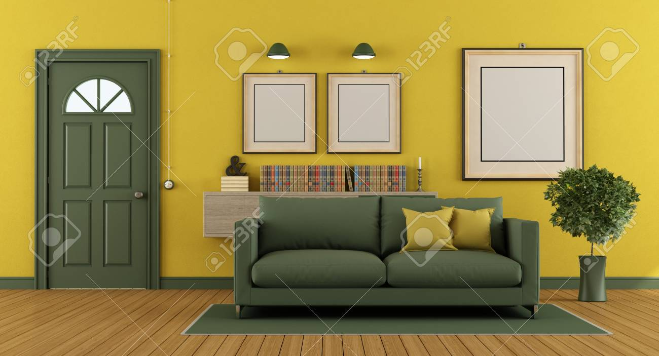 Home entrance with modern sofa and classic green front door -..