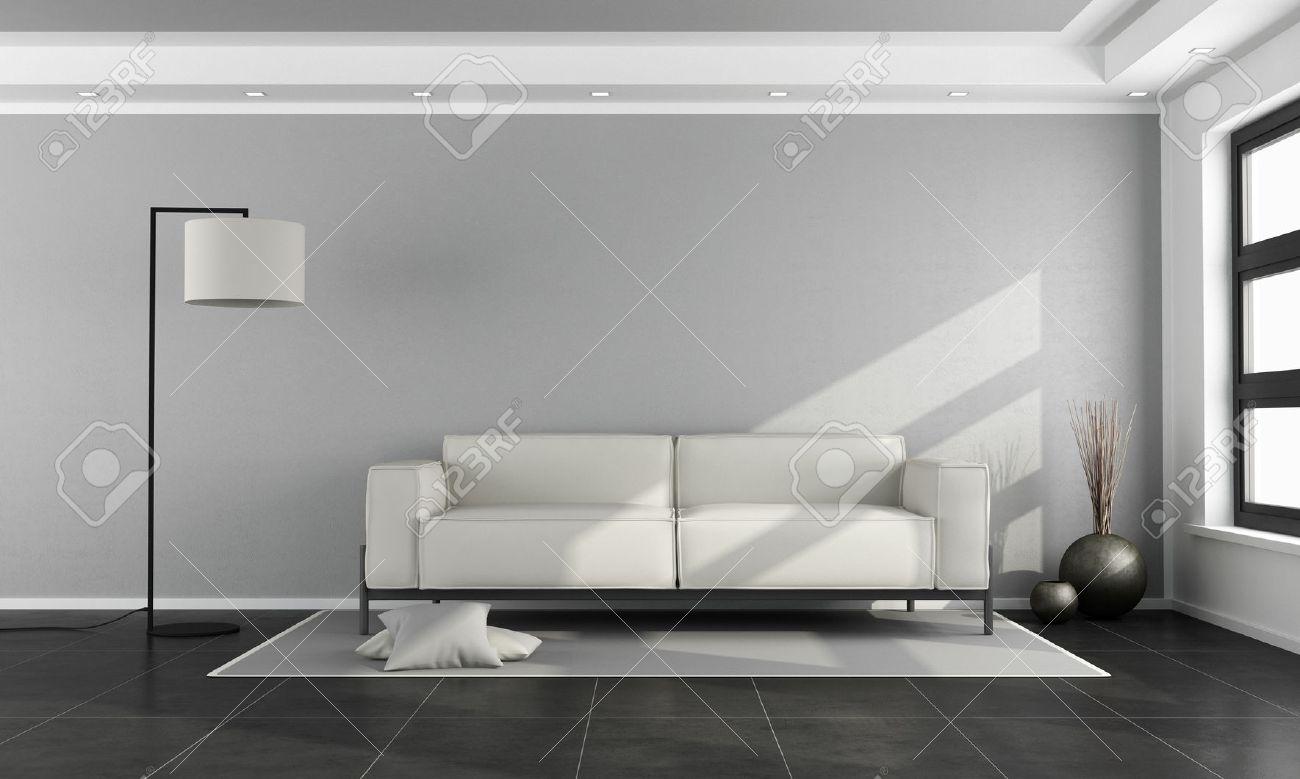 Salon Minimaliste Avec Canapé Blanc, Mur Gris Et Sol Noir - Rendu 3d ...