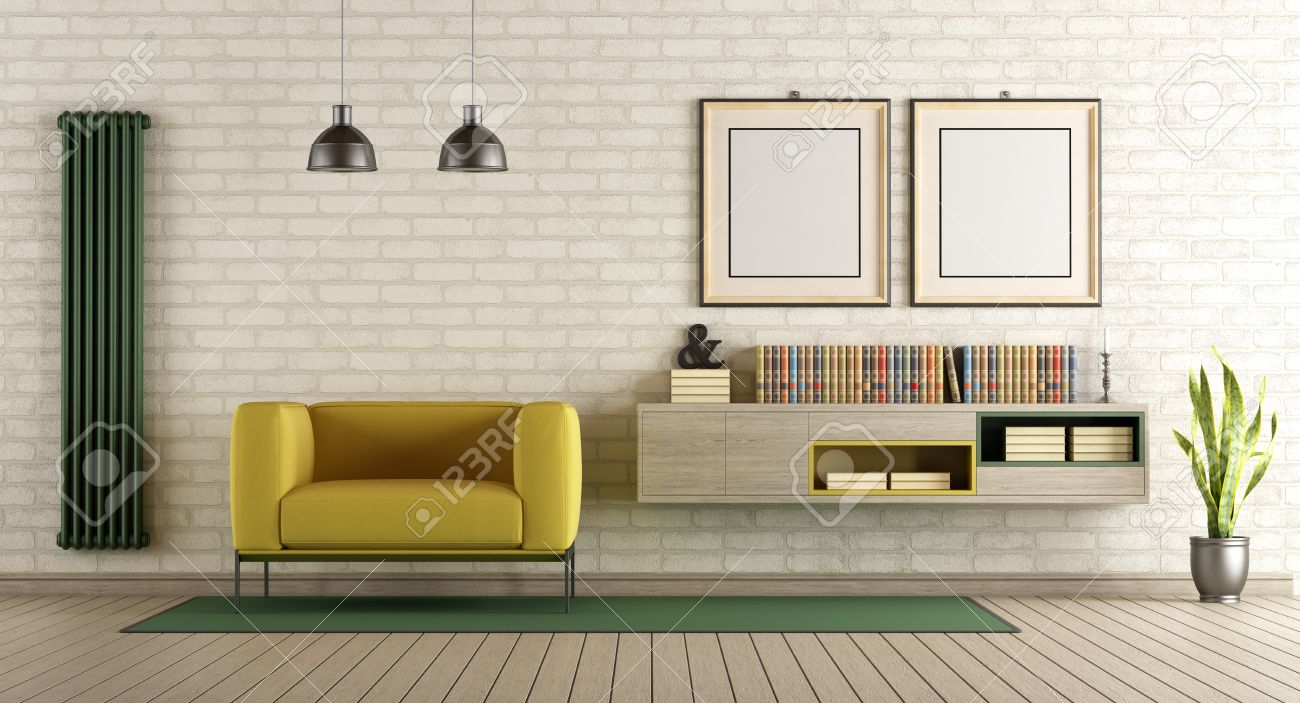 Modern Living Room With Yellow Armchair And Sideboard On Brick ...