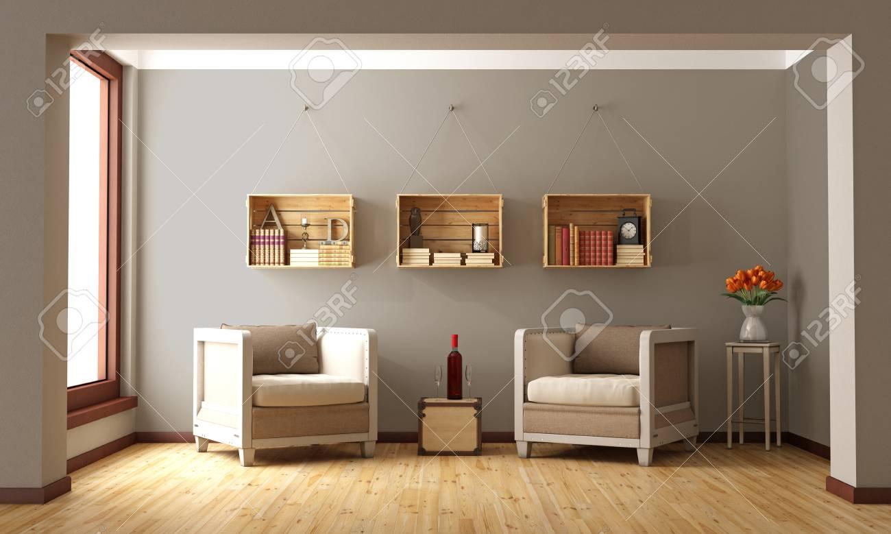 Salon Avec Fauteuils Classiques Et Caisses En Bois Servant De