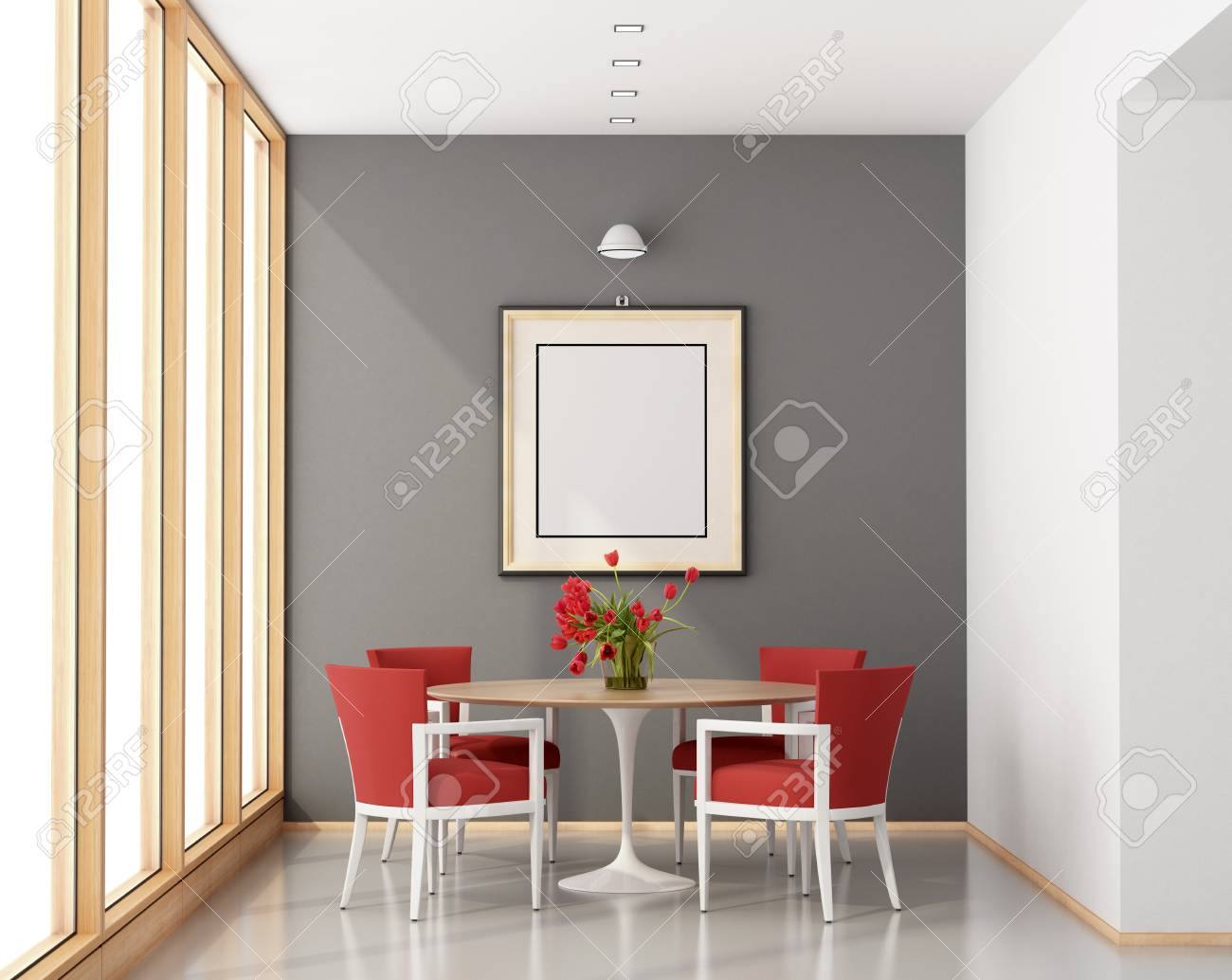 Comedor minimalista con mesa redonda, sillas rojas y ventana grande -  representación 3d