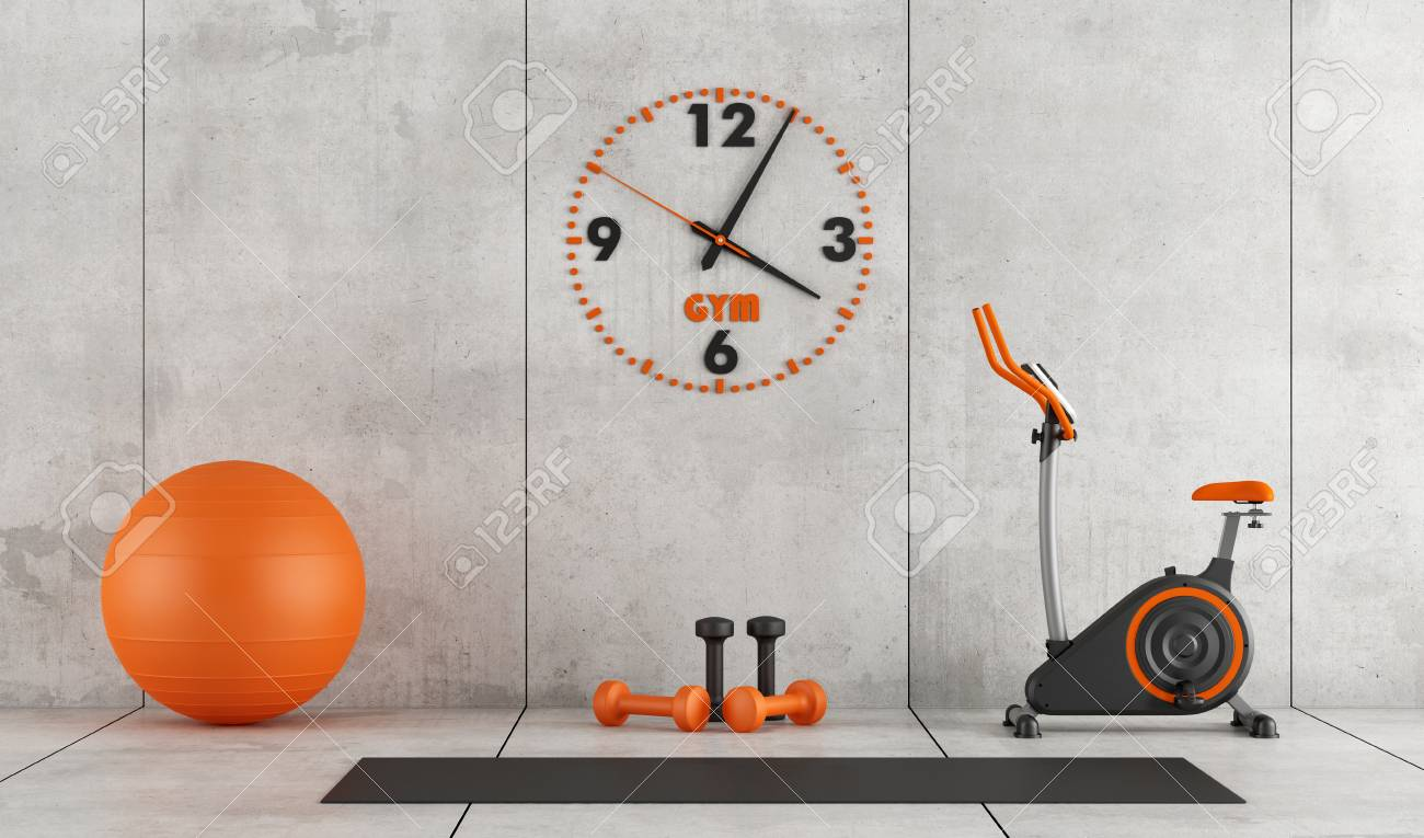 Concrete room with stationary bike, pilates ball and hand weight - 3d rendering - 70199925