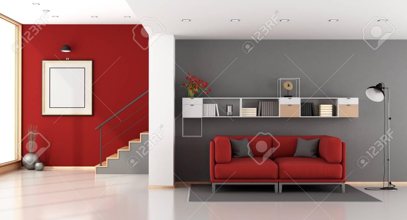Salon rouge et gris moderne avec escalier, canapé et bibliothèque - rendu 3D