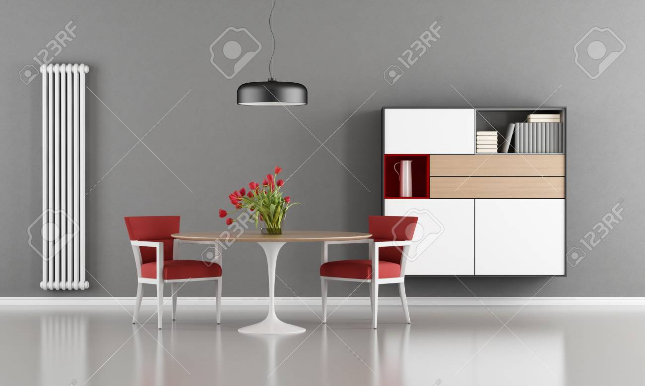 Modern Dining Room With Round Table, Red Chair And Sideboard On Wall   3d  Rendering