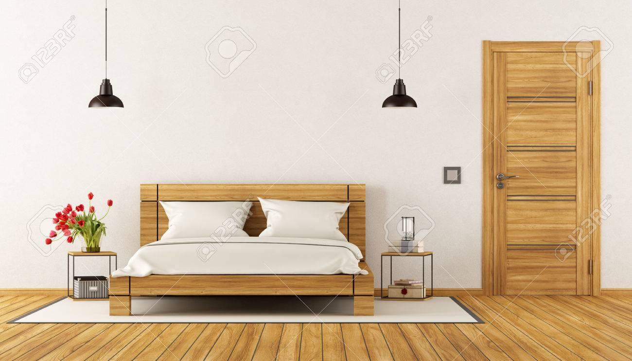 Modernes Schlafzimmer Mit Holz Bett Nachttisch Und Geschlossene Tur