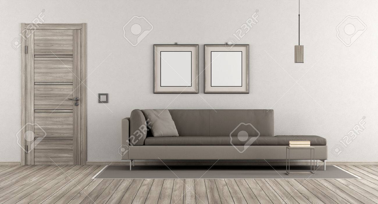 Modern Living Room With Wooden Door And Contemporary Sofa On.. Stock ...