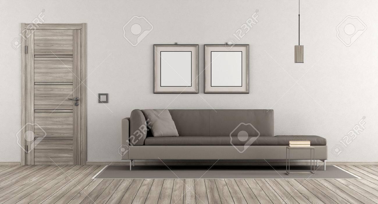 Modernes Wohnzimmer Mit Holztur Und Modernen Sofa Auf Weisse Wand