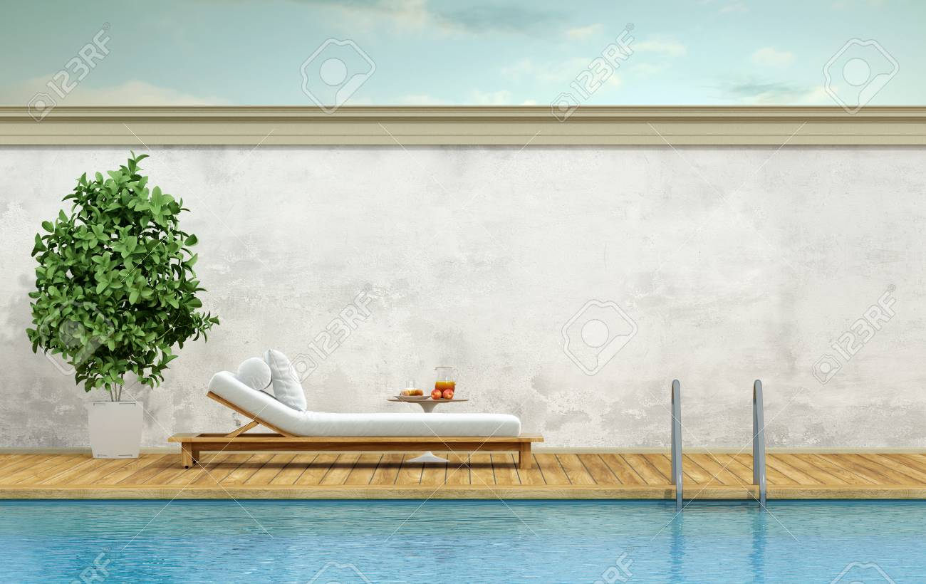 Minimalist swimming pool with white chaise pool lounge - 3d rendering