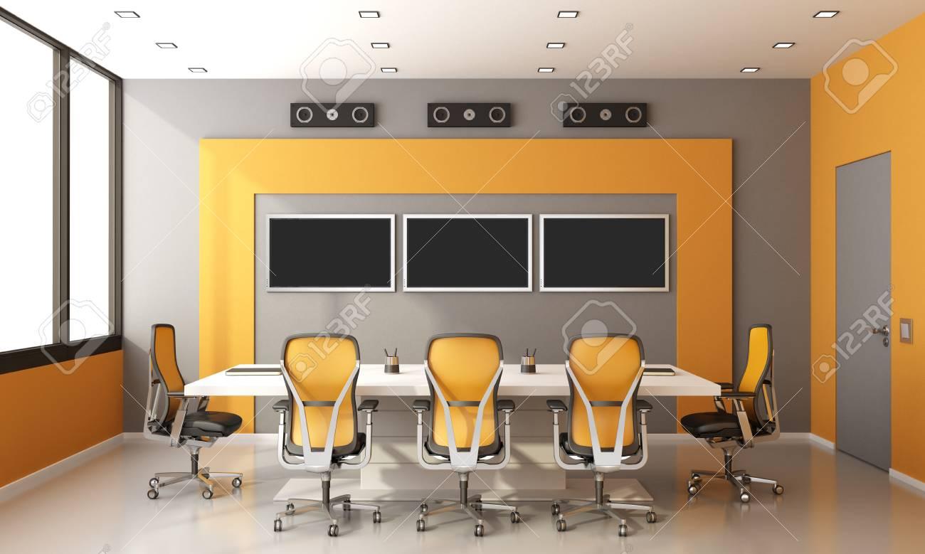 Salle de réunion moderne gris et orange avec table de réunion