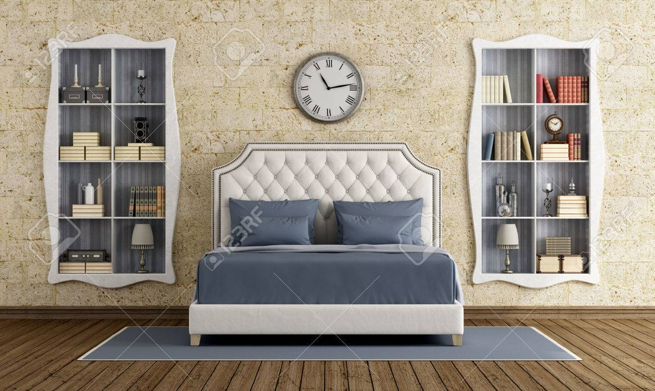Classic Master Bedroom With Elegant Double Bed And Two Bookcase   3d  Rendering Stock Photo