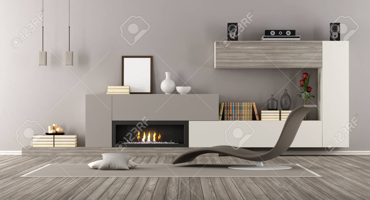 Modern Living room with fireplace and chaise lounge - 3d rendering