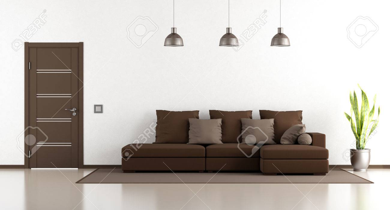 Salon blanc et marron avec canapé et porte fermée - rendu 3D
