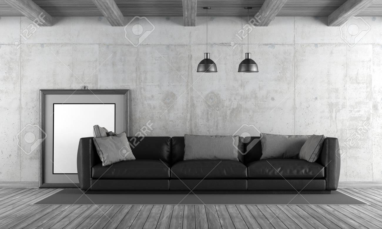 Salon de béton avec canapé noir et cadre vierge - rendu 3D