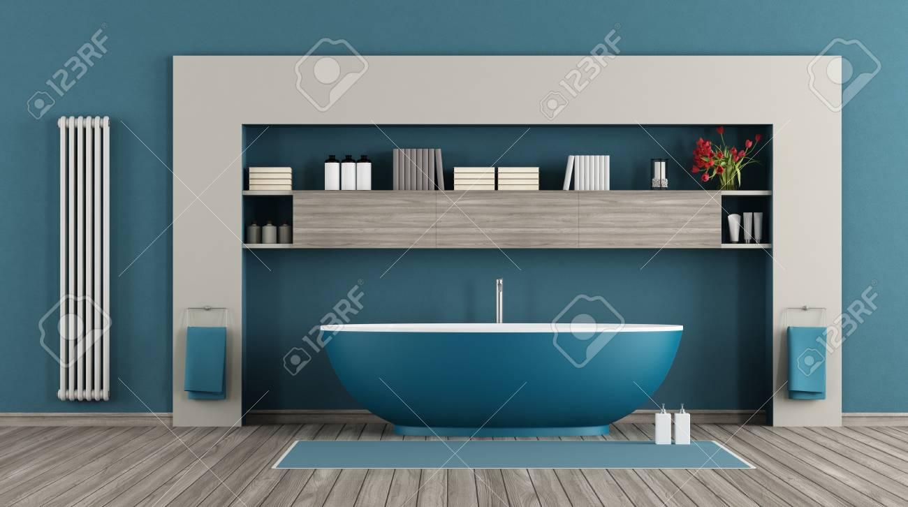 Blue Modern Bathroom With Bathtub,shelves And Vertical Radiator ...