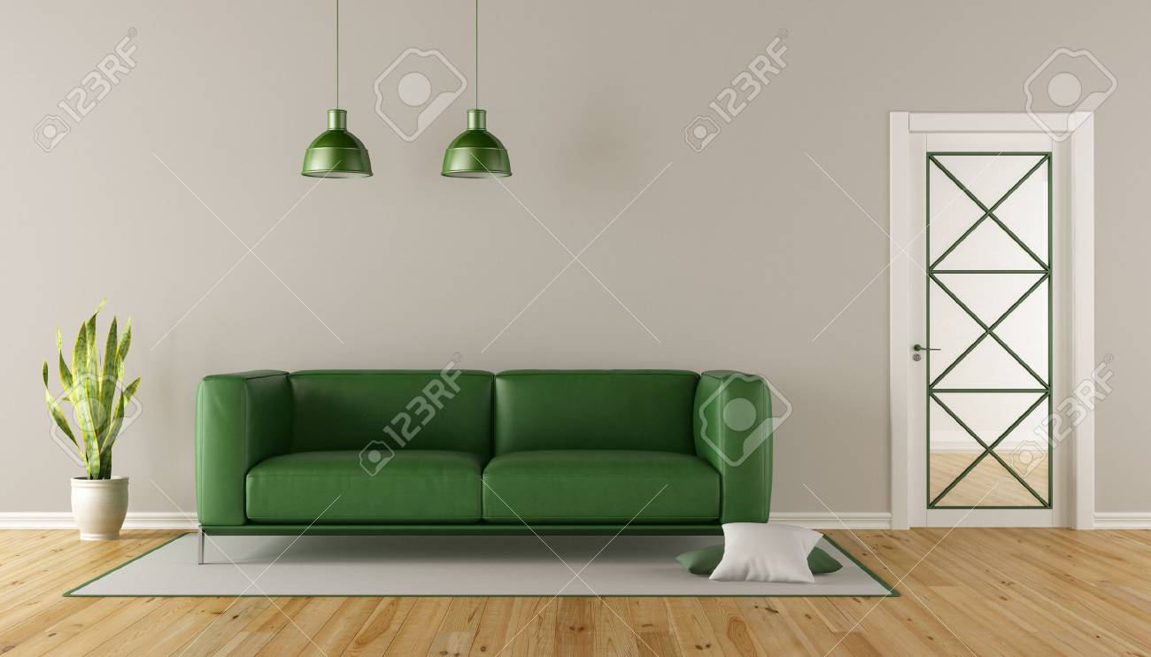 Modern Living room with green sofa and glass door - 3d rendering