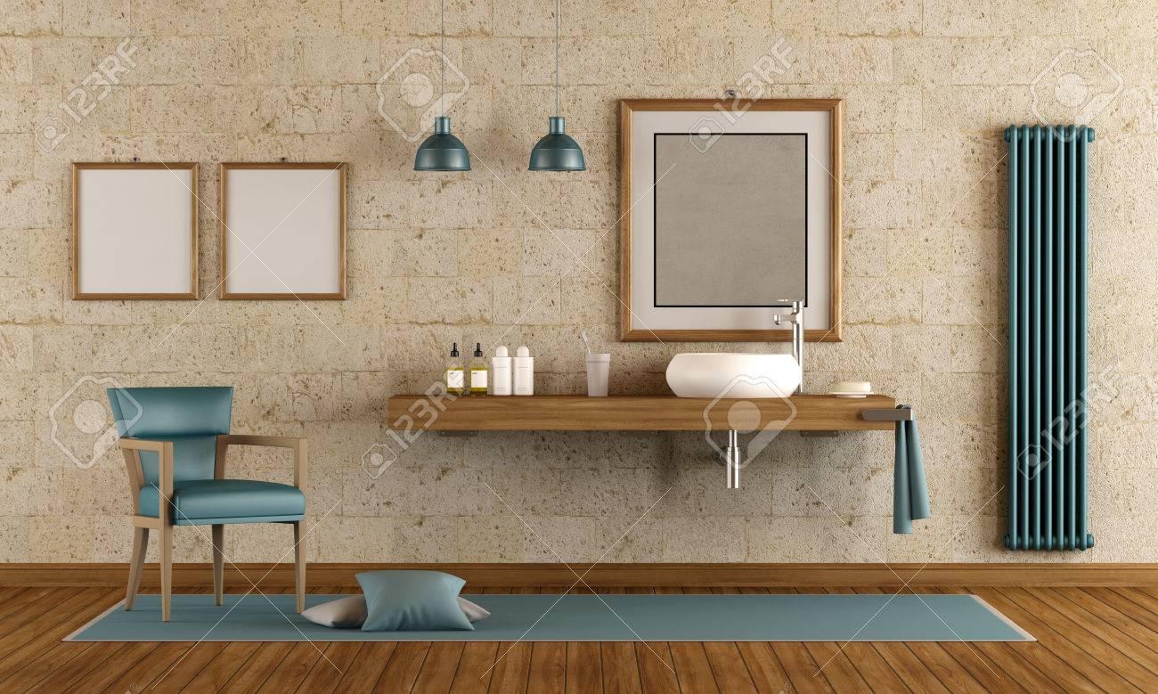 Salle de bain moderne avec vasque sur étagère en bois - rendu 3D