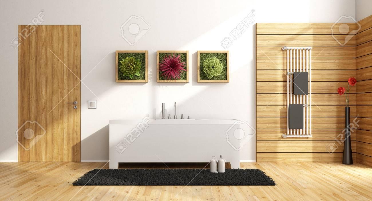 Bois Salle De Bain salle de bain moderne avec baignoire, cadre en bois sur le mur avec plante  et porte fermée - rendu 3d