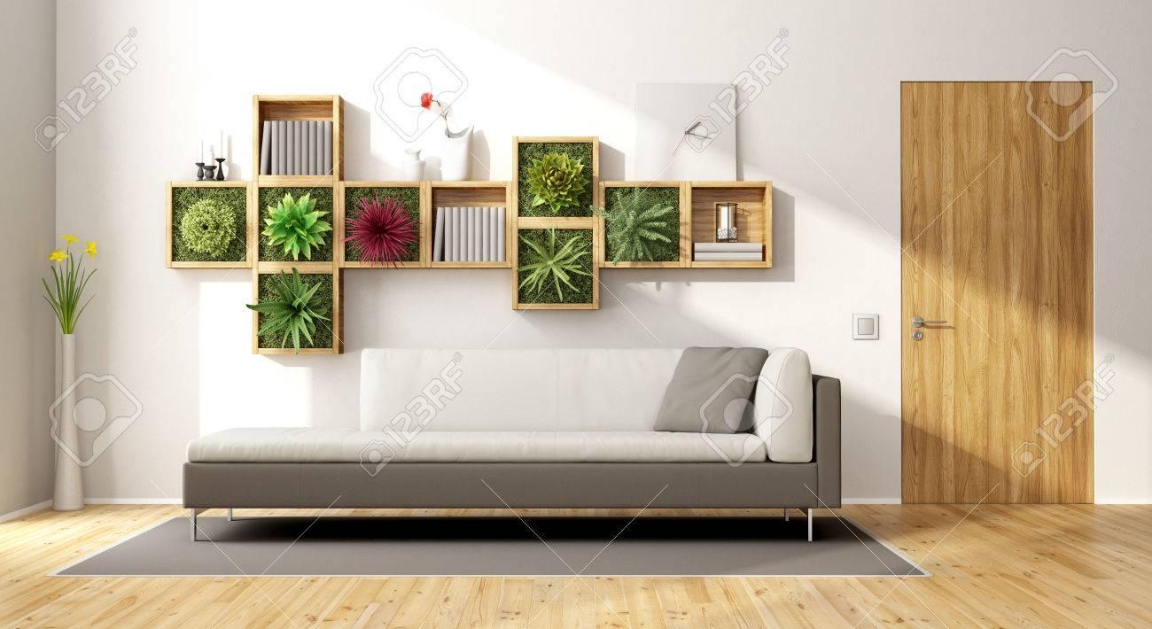 Modern Living Garden Furniture Modern living room with vertical gardensofa and wooden door stock modern living room with vertical gardensofa and wooden door 3d rendering stock photo workwithnaturefo