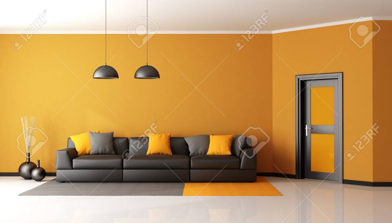 Black And Orange Living Room With Sofa And Closed Door   3d Rendering Stock  Photo