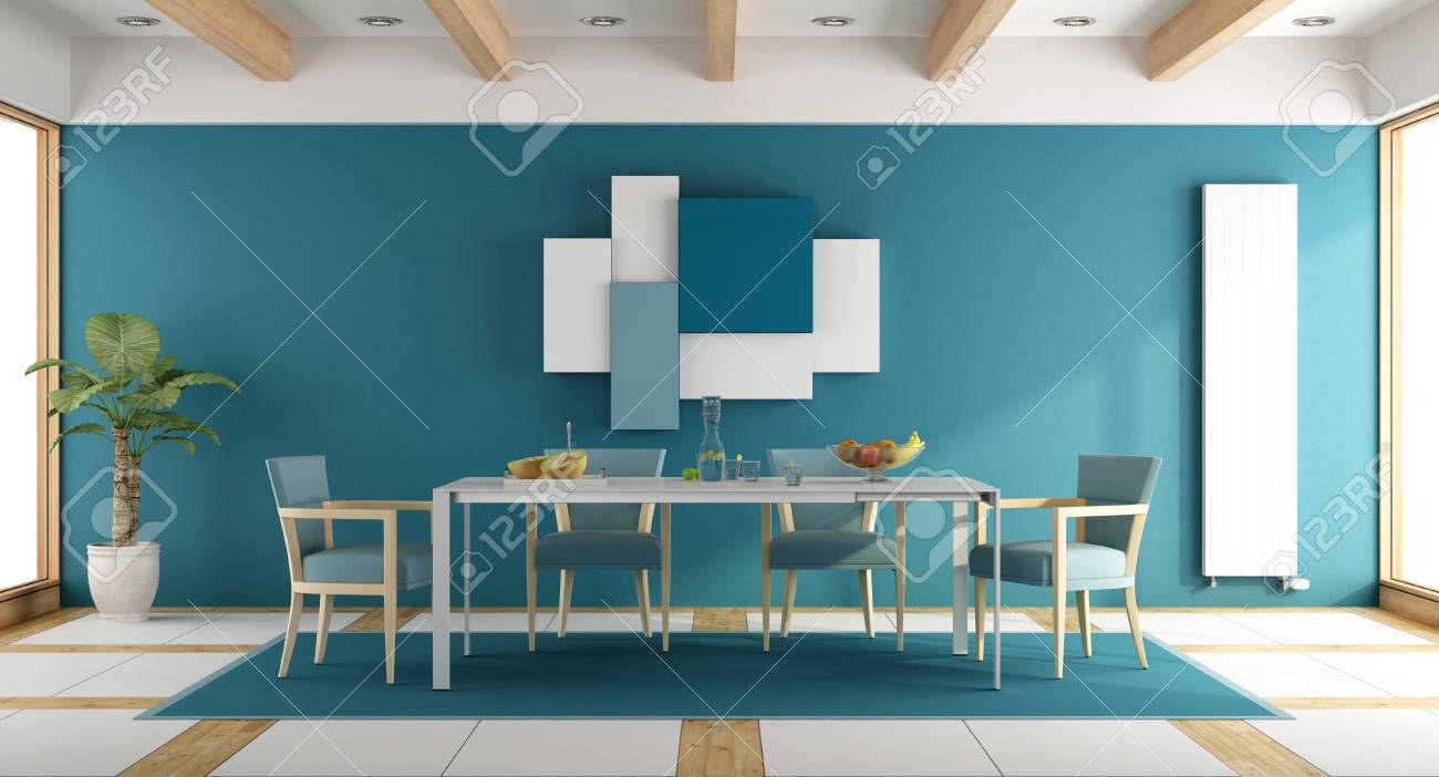 Salle A Manger Bleu Moderne Avec Table Blanche Et Chaise Bleue Rendu 3d