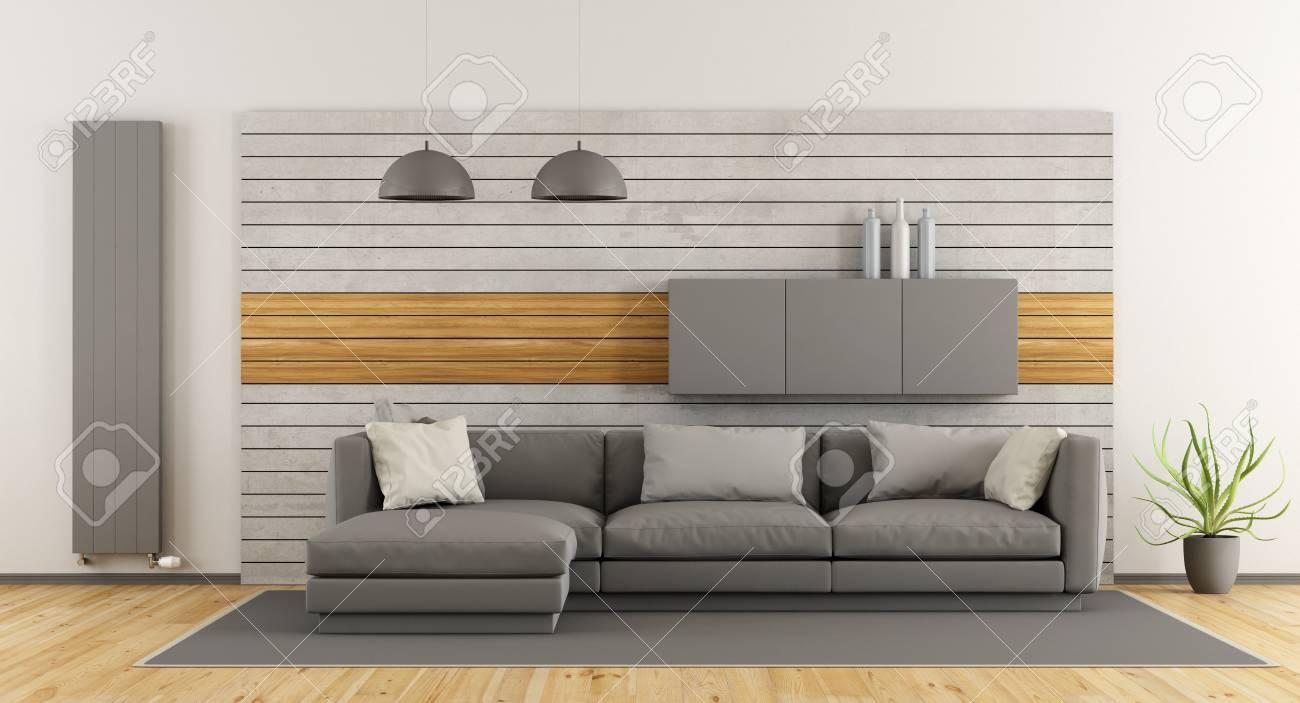 Weiß Und Grau Modernen Wohnzimmer Mit Sofa Und Beton-Panel Auf ...