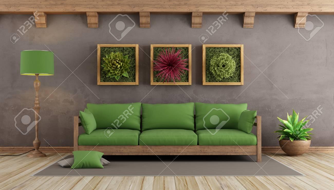 Retro Wohnzimmer Mit Brauner Wand Grunes Sofa Und Pflanzen An Der