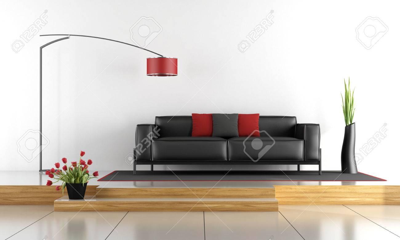 Deux niveaux salon avec canapé noir - rendu 3D