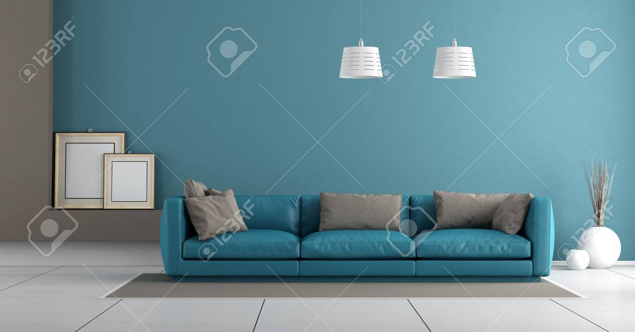 Blue Modern Living Room With Leather Sofa With Pillow 3d Rendering Stock Photo Picture And Royalty Free Image Image 75735184
