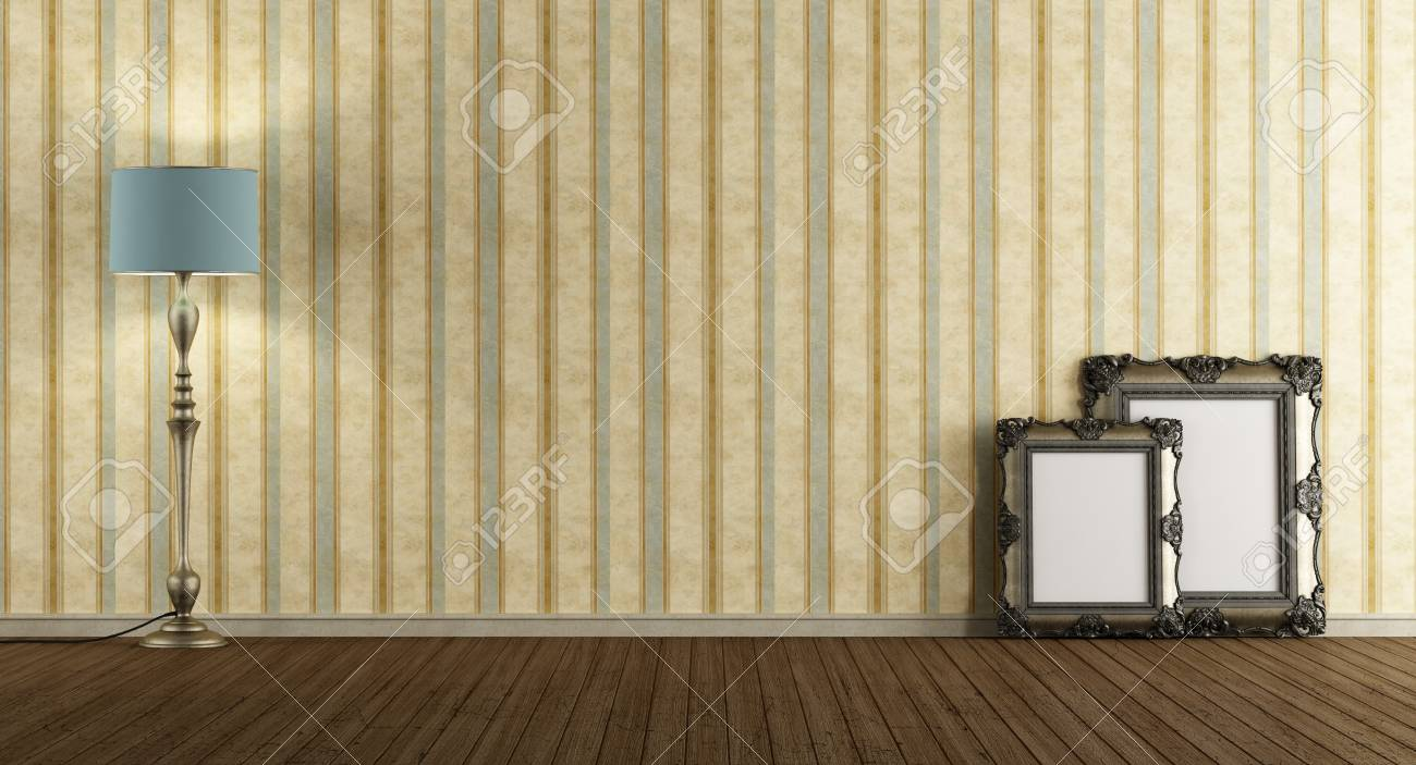 75736458 empty vintage living room with floor lamp classic frame on floor and old wallpaper 3d rendering