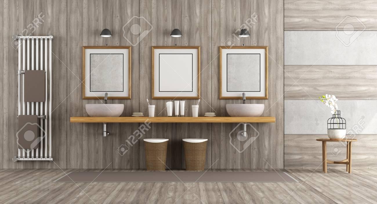 Double Salle De Bain ~ salle de bain en bois et en b ton avec double vasque sur tag re