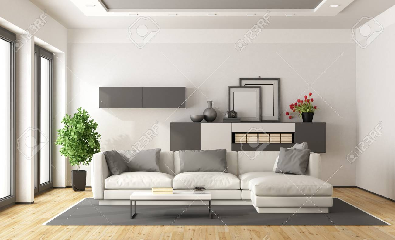 White And Gray Modern Minimalist Living Room 3d Rendering