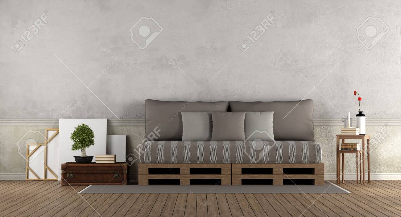 Retro living room with pallet sofa - 3d rendering