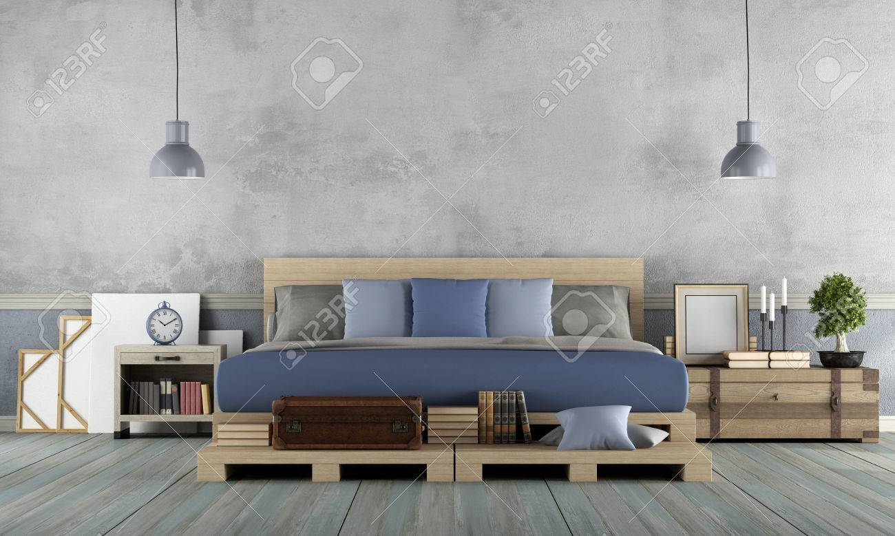 Master Bedroom In Rustic Style With Pallet Double Bed   3d Rendering Stock  Photo   78187797