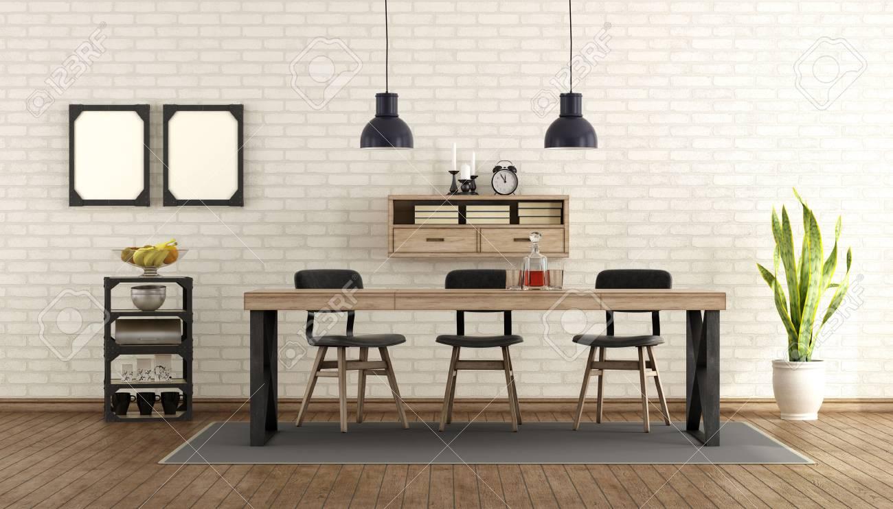 Salle A Manger En Style Industriel Avec Table Et Chaises Rendu 3d