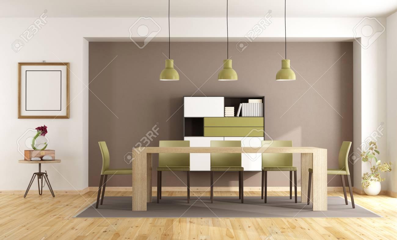 Modernes Esszimmer Mit Holztisch, Stühlen Und Sideboard   3D Rendering  Standard Bild